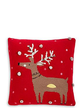 Reindeer Knitted Cushion, , catlanding