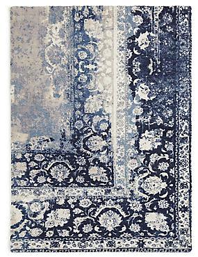 Vintage Corner Print Rug, BLUE MIX, catlanding