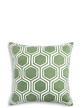 Hexagonal Crewel Work Cushion