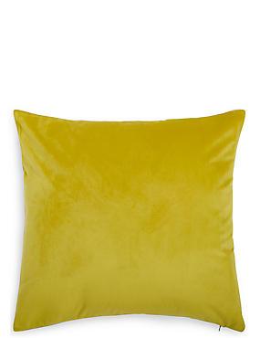 Velvet Linen Reversible Cushion, OCHRE, catlanding