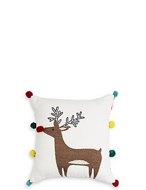 Mini Novelty Reindeer Cushion, , catlanding