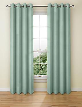 Cotton Rich Eyelet Curtain, DUCK EGG, catlanding
