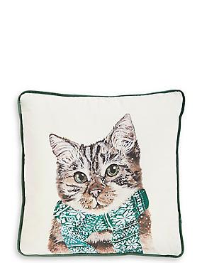 Printed Cat Cushion, , catlanding