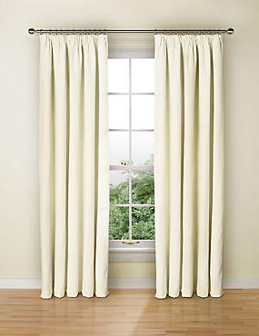 Blackout Thermal Pencil Pleat Curtain, IVORY, catlanding