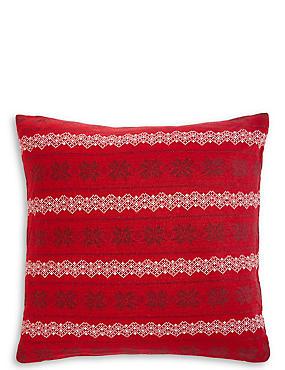 Fairisle Knitted Cushion, DARK CRIMSON, catlanding