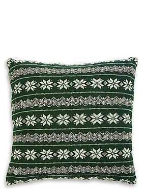 Fairisle Knitted Cushion, DARK GREEN MIX, catlanding