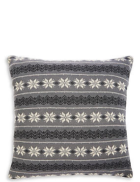 Fairisle Knitted Cushion, CHARCOAL MIX, catlanding