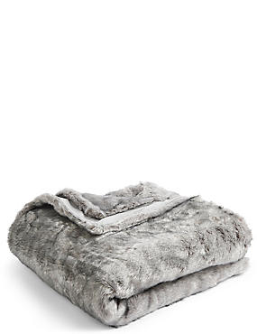 Tipped Faux Fur Throw, LIGHT GREY, catlanding