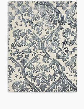 Watercolour Damask Rug, BLUE MIX, catlanding