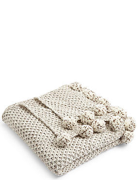 Salt & Pepper Pom-Pom Throw