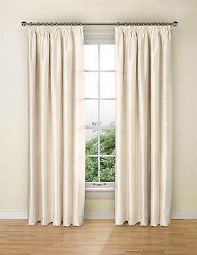 Textured Faux Silk Blackout Pencil Pleat Curtain, IVORY, catlanding