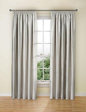 Textured Faux Silk Blackout Pencil Pleat Curtain, SILVER, catlanding