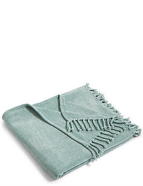 Plain Chenille Throw, BLUE, catlanding