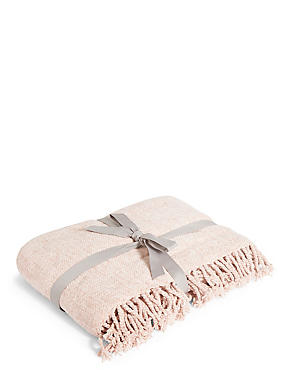 Plain Chenille Throw, SOFT PINK, catlanding