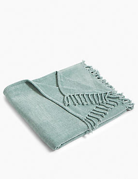 Plain Chenille Throw, DUCK EGG, catlanding