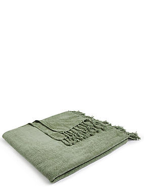 Plain Chenille Throw, SOFT GREEN, catlanding