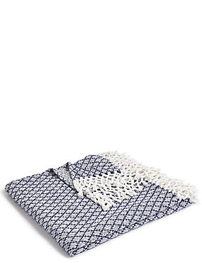 Elsie Tassel Throw, NAVY MIX, catlanding