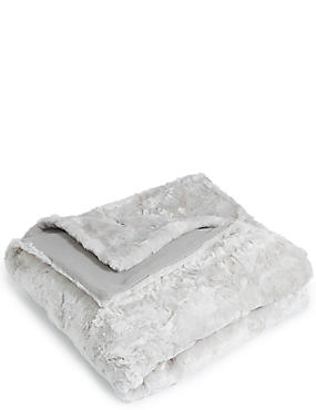 Textured Faux Fur Throw Large, SILVER, catlanding