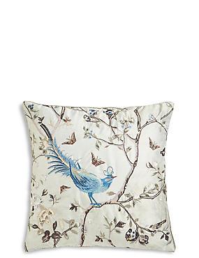 Embroidered Bird Cushion, , catlanding