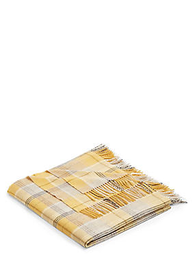 Wool Moons Checked Throw, , catlanding
