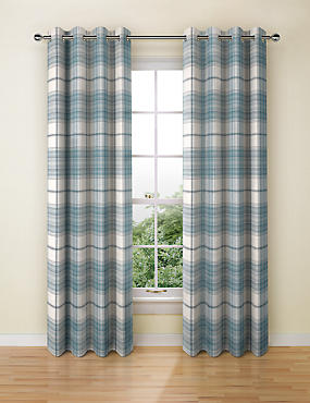 Cosy Checked Eyelet Curtains, DUCK EGG, catlanding