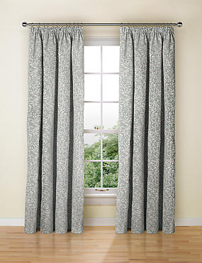 Floral Print Pencil Pleat Curtain, DUCK EGG, catlanding