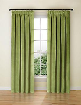 Velvet Pencil Pleat Curtains, GREEN, catlanding