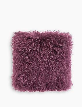 Pure Wool Mongolian Cushion, BERRY, catlanding