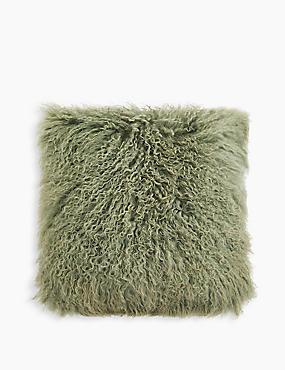 Pure Wool Mongolian Cushion, SAGE GREEN, catlanding