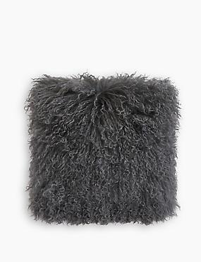 Pure Wool Mongolian Cushion, CHARCOAL, catlanding