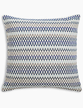 Geo Chenille Cushion, BLUE MIX, catlanding