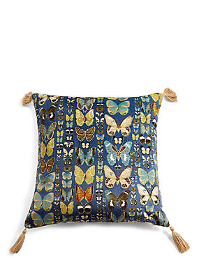 Embroidered Butterflies Cushion