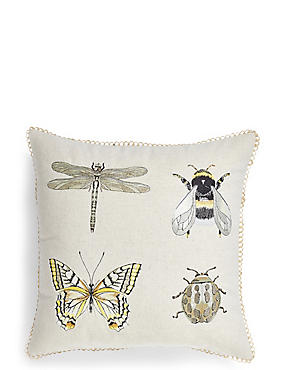 Insect Embroidered Cushion