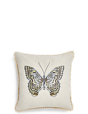 Botanical Butterfly Embroidered Cushion