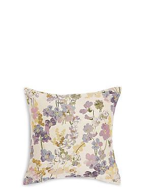 Vintage Floral Jacquard Cushion, MULTI, catlanding