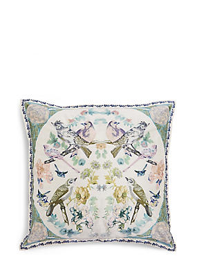 Mirrored Birds Embroidered Cushion