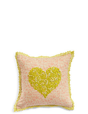 Heart Embroidered Cushion