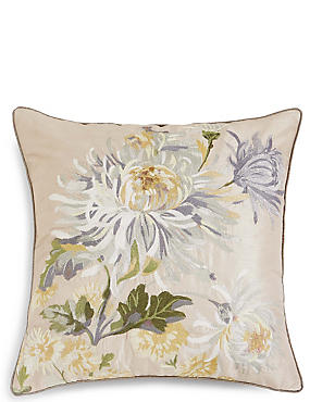 Painterly Floral Embroidered Cushion