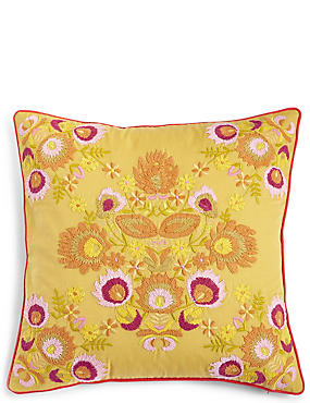 Multi Floral Embroidered Cushion