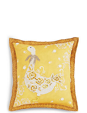 Lace Appliqué Goose Cushion