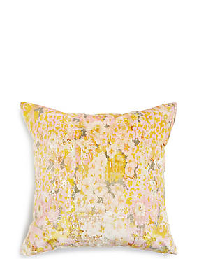 Crushed Floral Velvet Cushion