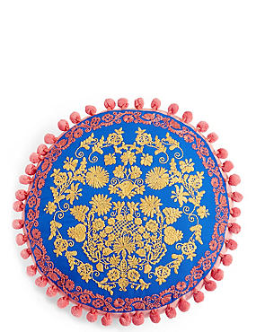 Bright Round Embroidered Cushion