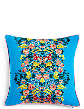 Folk Floral Embroidered Cushion