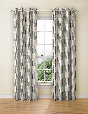 Abstract Striped Eyelet Curtains, GREY MIX, catlanding