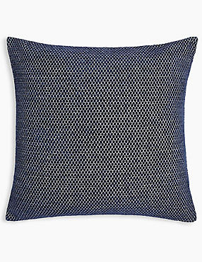 Spotted Chenille Cushion, NAVY, catlanding
