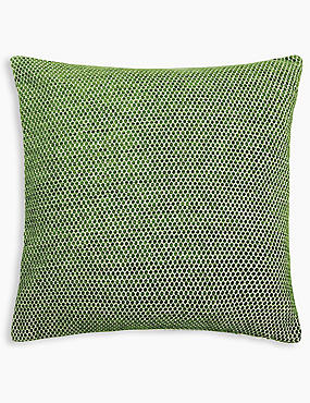 Spotted Chenille Cushion, GREEN, catlanding