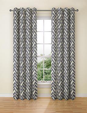 Crescent Chevron Eyelet Curtains, NAVY MIX, catlanding