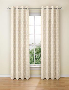 Hexagonal Geometrical Print Eyelet Curtains, CHAMPAGNE, catlanding
