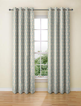 Hexagonal Geometrical Print Eyelet Curtains, DUCK EGG, catlanding