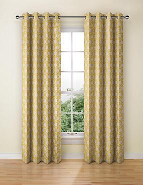 Hexagonal Geometrical Print Eyelet Curtains, OCHRE, catlanding